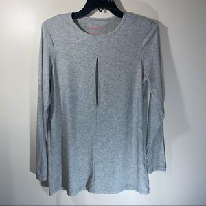 Everly Grey Ribbed Front Keyhole Long Sleeve top